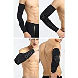 1Pcs Elbow Pads Compression Shooter Sleeves Men Women Arm Sleeve with Pad for Basketball Football Volleyball Baseball Softball : Black, M