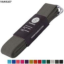Yamkas Correa para Yoga Yoga Belt cinturón 100% de algodón con Esquinas de Metal Anillo Cierre en Diferentes Coloures Yoga Strap (Grey (Dark), 180)