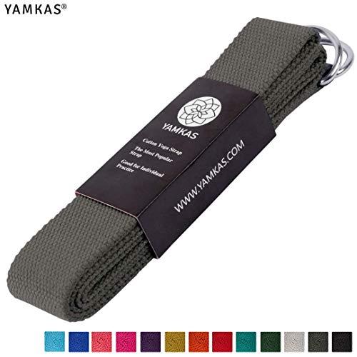 Yamkas Yoga Gurt 100% Bio Baumwolle | 1.8M - 3M Lang | Yogagurt mit Verschluss aus Metall | Yoga Strap Stretch Band | Dunkelgrau
