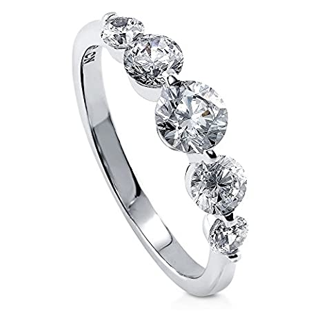 BERRICLE Rhodium Plated Sterling Silver Cubic Zirconia CZ 5-Stone Promise
