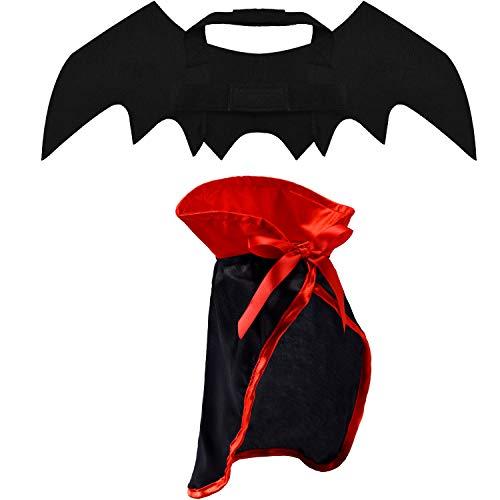 2 Stücke Halloween Haustier Kostüm Set Enthalten Fledermaus Kostüm Flügeln und Haustier Umhang für Halloween Party Haustier Cosplay