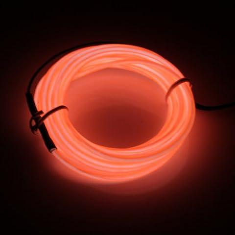Lerway Colorido 5M Neno Electroluminiscente Luz,Mangueras Flexibles Alambre de EL LED Luces con Controlador Box, para Hogar Cocina Jardín Baño Camping Bar Decoración,Arboles Navidad, Fiesta/Club/Coche Cable Neon(Naranja)