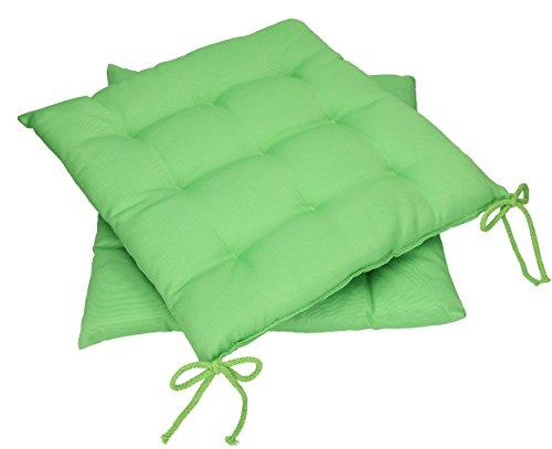 Betz 2 Stück Stuhlkissen Sitzkissen mit Bindebändern Summer 40x40 cm verchiedene Farbe grün