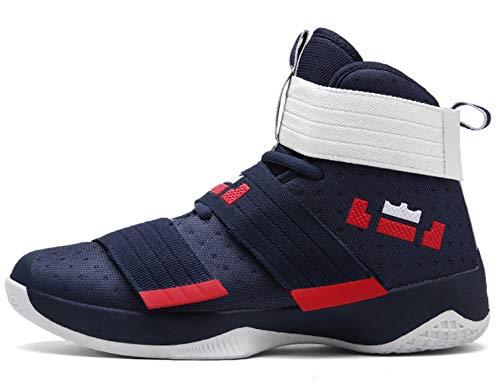 89 High-Top Basketball Schuhe Outdoor Anti-Rutsch Sneaker Atmungsaktiv Ausbildung Turnschuhe Sportschuhe Laufeschuhe Verschleißfeste Dämpfung Basketballstiefel Blau 43 EU ()