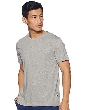 Van Heusen Athleisure Men's Solid Regular Fit T-Shirt (60021_Grey Melange XS)