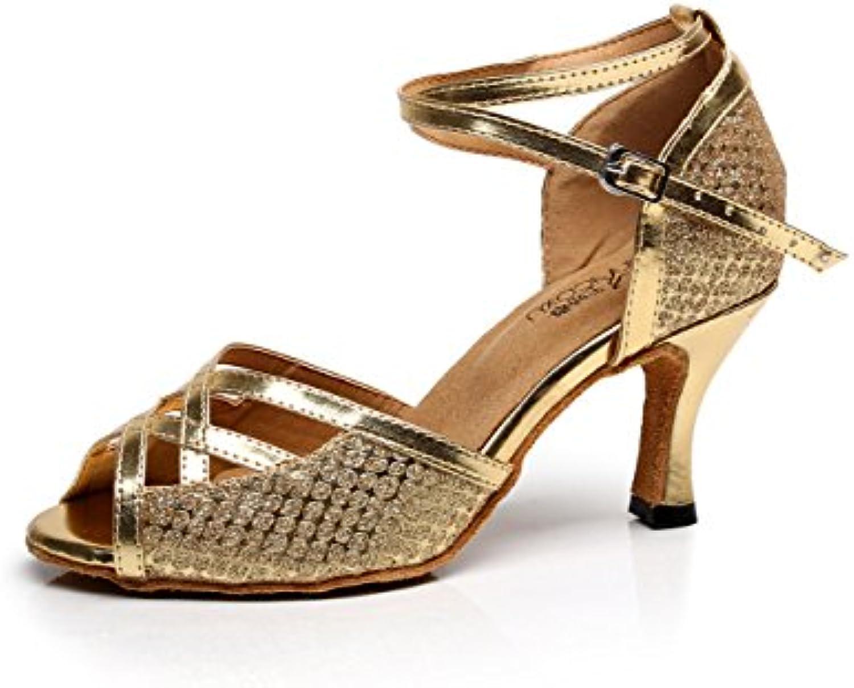 JSHOE Damen Tanzschuhe Latin Salsa/Tango/Tee/Samba/Modern/Jazz Schuhe Sandalen High Heels,Gold-heeled7.5cm-UK7ö -