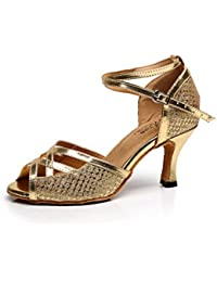 JSHOE Damen Tanzschuhe Latin Salsa / Tango / Tee / Samba / Modern / Jazz Schuhe Sandalen High HeelsBlack-heeled5cm-UK5.5...