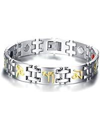 Vnox Acero Inoxidable 4 en 1 Terapia magnética curativo tibetano mantra grabado pulsera de eslabones para hombres mujeres,20.5cm