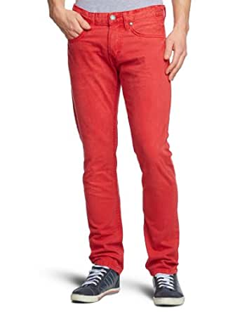 TOM TAILOR Denim Herren Jeans Niedriger Bund 62012060112/coloured skinny denim, Gr. 33/32, Rot (4033 poinsettia red)