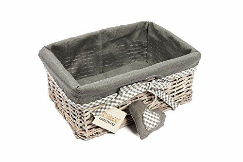 Cesto pequeño de mimbre gris con forro, de la marca Woodluv