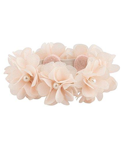 SIX 'Blumen' elastischer Haargummi mit Textil Blüten und Perlen für Dutt und Pferdeschwanz Damen...