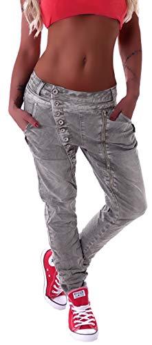 Mozzaar Damen Boyfriend Jeans Baggy Haremshose Harem Stretch Oversize in Weiß Grau Khaki M 38 L 40 XL 42 XXL 44 XXL 46 XXXXL 48 gr größe Size Denim dehnbar Stretch übergröße Over Size Big locker Baggy Boyfriend Jeans