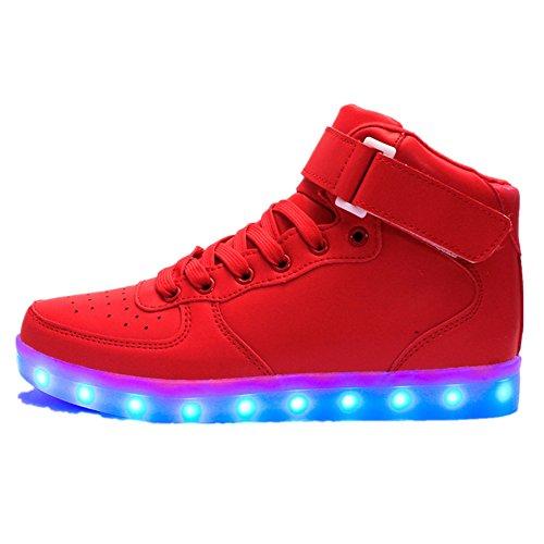 Kok kok scarpe led bambino scarpe con luci luminosi sneakers con luce scarpe usb 7 colori lampeggiante trainners (rosso,28 eu)