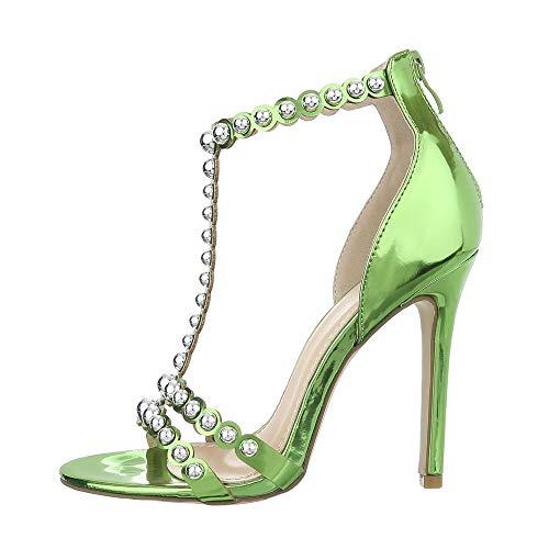 Strap High Heel (Ital-Design Damenschuhe Sandalen & Sandaletten High Heel Sandaletten Synthetik Grün Gr. 39)