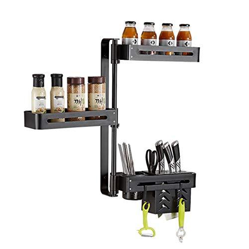 HUIFA Space Aluminium Kitchen Rotary Rack Free Punch Küchenregal Multifunktions-Eckständer Dreischichtig Schwarz 180 ° Drehbares Küchenregal 。 (Farbe : Three Layers, größe : 32.5 * 59.5cM) -