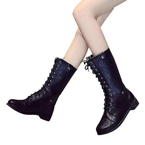 dc0ce761d635 OSYARD Damen Halbschaft Booties Lace-Up Flache Lederstiefel Große Größe  Vintage s, Frauen Fashion
