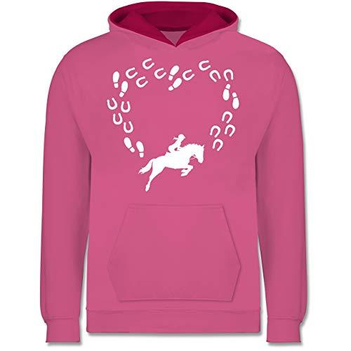 Reiter-kinder Hoodie (Shirtracer Up to Date Kind - Reiter und Pferd Herz - 9-11 Jahre (140) - Rosa/Fuchsia - JH003K - Kinder Kontrast Hoodie)