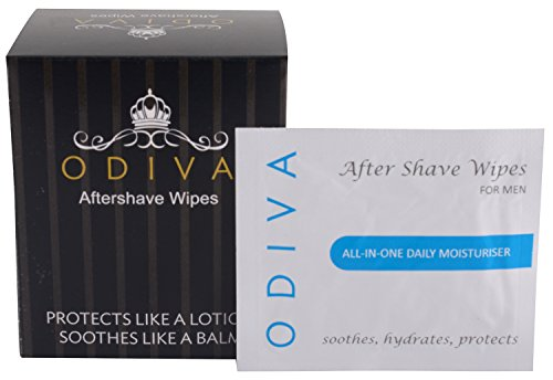 Aftershave lotion for men - ODIVA Aftershave Wipe (Pack of 25 Sachets) - Protects like a lotion, soothes like a balm - Best when used with gillette mach 3, gillette fusion proglide, vector 3, dorco, letsshave, flexball pro glide, safety razor, body razor, philips, braun and more. Experience the art of shaving - for men.  available at amazon for Rs.180