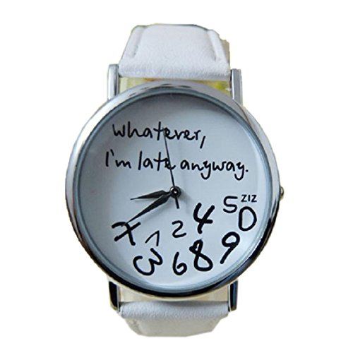 FEITONG Damenuhr Armbanduhr Quarzuhr Elegant Weiß PU Leder Uhr NEU
