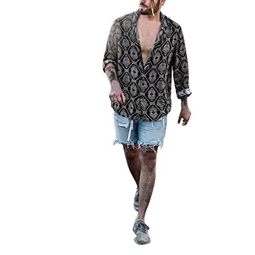 Minikimi camice da uomo manica lunga,camicia uomo casual nera,camicie uomo lino allentata comode e traspiranti stile slim estivo slim collar spiaggia camicie shirts (nero, l)