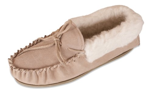 9f02a9dbfb74 Nordvek Womens Genuine Suede Sheepskin Wool Lined Moccasin Slippers With Wool  Collar   Non-Slip Hard Sole   417-100
