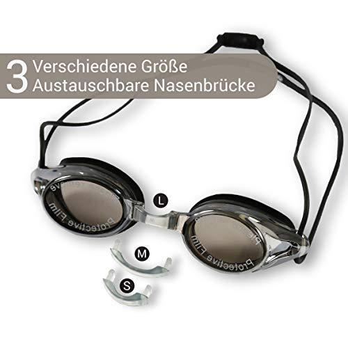 Diapolo Schwimmbrille Kalliope mit verspiegelten Gläsern für Damen und Herren, perfekt für den Innen- und Außenbereich für professionelle Zwecke (schwarz)