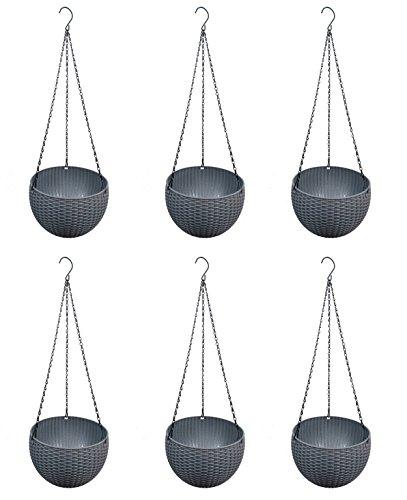 Rund Decor Garten Blumentopf zum Hängen Pflanztopf Blumenampel für hängende Pflanzgefäß in Durchmesser 22cm und 59,9cm Gesamtlänge (Woven Runde Top)