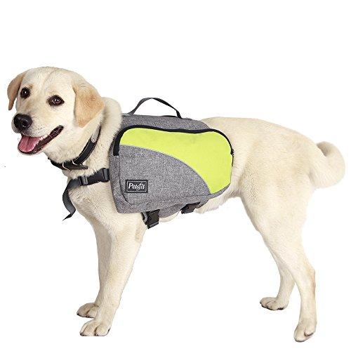 Petsfit Adjustable Dog Saddle Bag for Medium and Large Dogs, Quick Release Pet Backpack, Portable Dog Backpack, Meidum, Light Grey