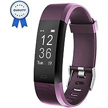 Pulsera Actividad HolyHigh YG3 Plus HR Monitor de ritmo cardíaco Seguimiento de actividad con impermeable/pedómetro/llamada Mensaje Alerta/monitor de sueño para Android e iOS(Purple)