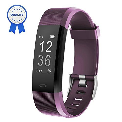 HolyHigh Fitness Armband YG3 Plus HR Pulsuhr Aktivitätstracker mit Herzfrequenz Monitor/wasserdichter /Schrittzähler/Anrufbenachrichtigungen/Ruhemodus/Kamerabedienung für Android und iOS (Violett)