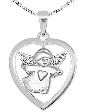 CLEVER SCHMUCK-SET Silberner Anhänger Herz offen 19 mm glänzend innen Kinderengel Herz auf Kleid seidenmatt und...