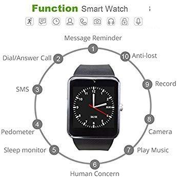 YAMAY Bluetooth Smartwatch Fitness Uhr Intelligente Armbanduhr Fitness Tracker Smart Watch Sport Uhr mit Kamera Schrittzähler Schlaftracker Romte Capture Kompatibel mit Android Smartphone - 4