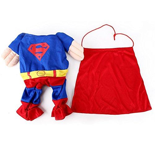 HundeKleidung KatzeKleidung Superhund Haustier-Kleidung Superman Hundewelpen Katzen-Halloween-Haustier Kleidung Kleidung für Hunde Katze-Tierbedarf (kleine (Hals: 22-26cm))