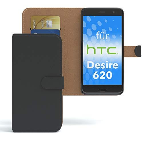 EAZY CASE HTC Desire 620 Hülle Bookstyle mit Standfunktion, Book-Style Case aufklappbar, Schutzhülle, Flipcase, Flipstyle, Flipcover mit 2 Kartenfächern aus Kunstleder, Schwarz