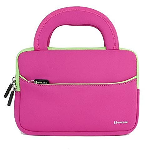 Evecase Kids Tablet Sleeve, Ultra Portable Handle Carrying Portfolio Neoprene Sleeve Case Bag for Acer, Asus, LG, Samsung, Dragon Touch, BTC Flame, It UK, Leapfrog, Dragon Touch 7 inch Tablet - Hot Pink