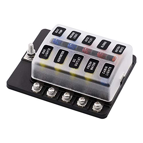 Republe 10 Way Boîte à fusibles Bloc-fusibles Type de Lame Support de Voiture du véhicule Circuit LED indicater Accessoires Voiture