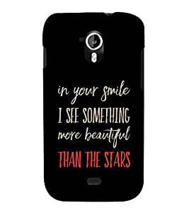 Fiobs Designer Back Case Cover for Micromax Canvas HD A116 :: Micromax A116 Canvas HD (In Your Smile I See Something More Beautiful Than The Stars)