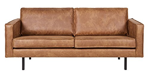 Canapé 2,5 places en éco-cuir Bronco cognac, H 85 x L 190 x P 86 cm - PEGANE -