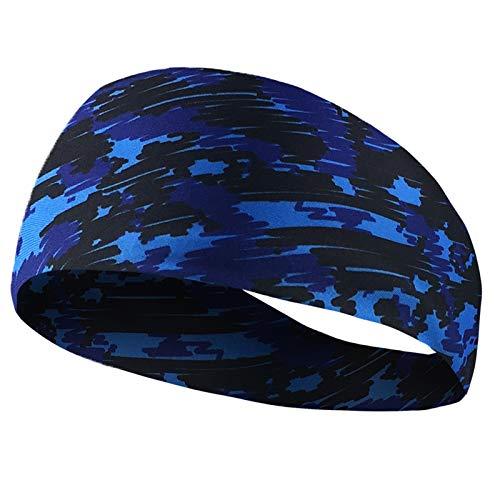 AnazoZ Stirnband Schweißbänder Kopf Band Sportband Sport Schweißbänder für Laufen, Radfahren, Yoga, Basketball - Blau