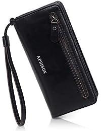 34978dd7ed2a26 APHISONUK Frauen PU-Leder Lange RFID Brieftasche Große Kapazität  Reißverschluss RFID-Schutz Geldbörse Wristlet…