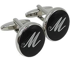 Idea Regalo - Gemony Men's Fashion Luxurious Tuxedo Shirts 2PCS Cufflinks, Gift Box- Premium Quality Personalized Alphabet Letter-M-Black