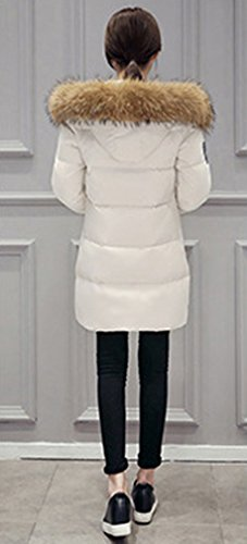 BININBOX NEU Damen Mantel Winterjacke Daunenmantel Kapuzen Daunenjacke Fell Parka Weiß