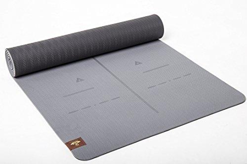 Ausrichtung Lange (Heathyoga Yogamatte Pro, Ausrichtungs-System, Umweltfreundliche und hypo-allergene TPE-Matte, weich und rutschfest, ideal für alle Yoga-Lehrer und Yogis, In vielen Farben erhältlich. Maße: 183 x 65 x 0,6 cm (Gray))