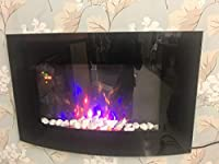 Truflame Wall Mounted Electric Fires Fire Fireplace Curved Glass Pebbles Effect Flame New!