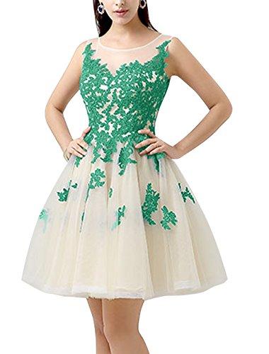 Find Dress Robe de Soirée Femme Fille Longue pour Mariage Robe de Mariée Princesse Grande Taille Courte Robe de baptême pour des fêtes Anniversaire Party en Tulle avec Broderie Vert