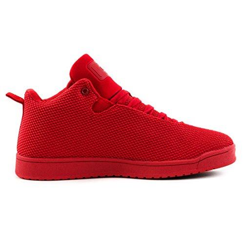 bbf8f0647c5e Stylische Unisex Damen Herren High Low Top Schnür Sneaker Basketball Sport  Freizeit Turn Schuhe Rot