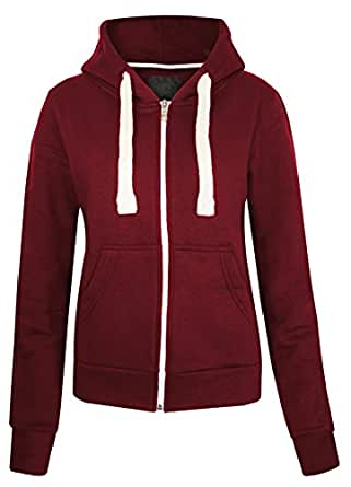 Womens Ladies Plain Zipped Fleece Hoody Hoodie Sweatshirt Size S M L XL XXL
