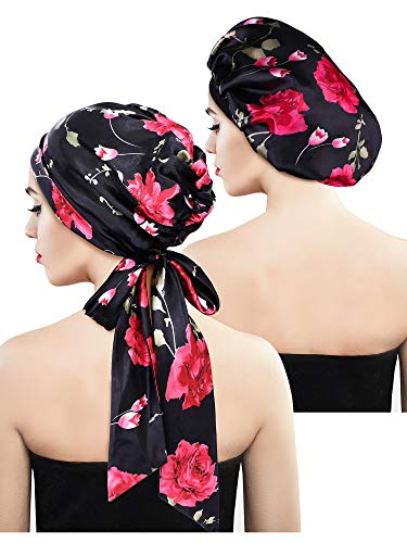 2 Stück Weiche Satin Haube Mütze Satin Kopftuch Pre-gebundener Kopf Wickel Schlaf Kopfbedeckung für Damen, 2 Typen (Schwarz Blumen mit Schwanz, Schwarz Blumen)