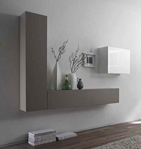 Sodani parete attrezzata mobili soggiorno 3 mobili sospesi in melamina 193x31x139cm cube bianco e grigio