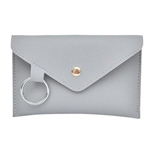 VJGOAL Damen Bauchtasche, Damen Mode Reine Farbe Ring Leder Party Strand Urlaub Messenger Schulter Brust Kleine Tasche (Grau)
